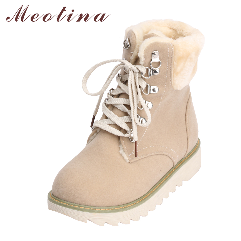 Meotina Snow Boots Winter Shoes Women Lace Up Plush Warm Boots Flat Footwear Fur Ankle Boots Female Shoes Black Beige Size 33 43 maxmuxun women autumn winter rubber ankle boots lace up round toe flat heels classic black grey faux suede shoes female footwear