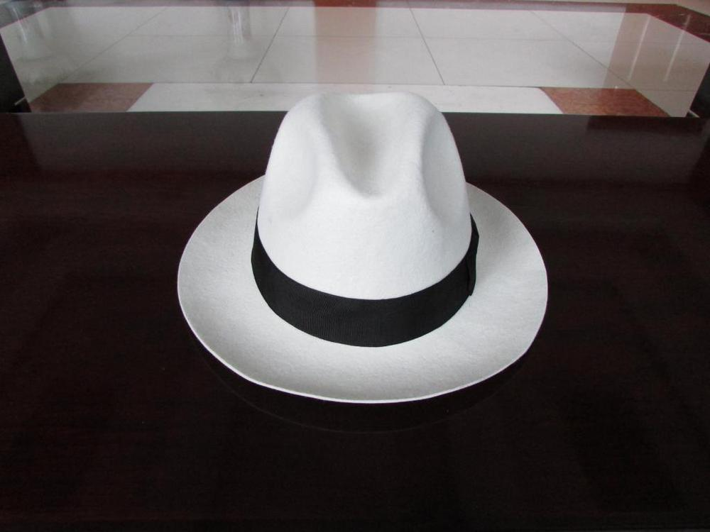 243ffa0115a White Trilby Hat Pure Wool Felt Fedora hats for women girls men black band  bow 6.5cm brim Panama hat 2015-in Fedoras from Apparel Accessories on ...