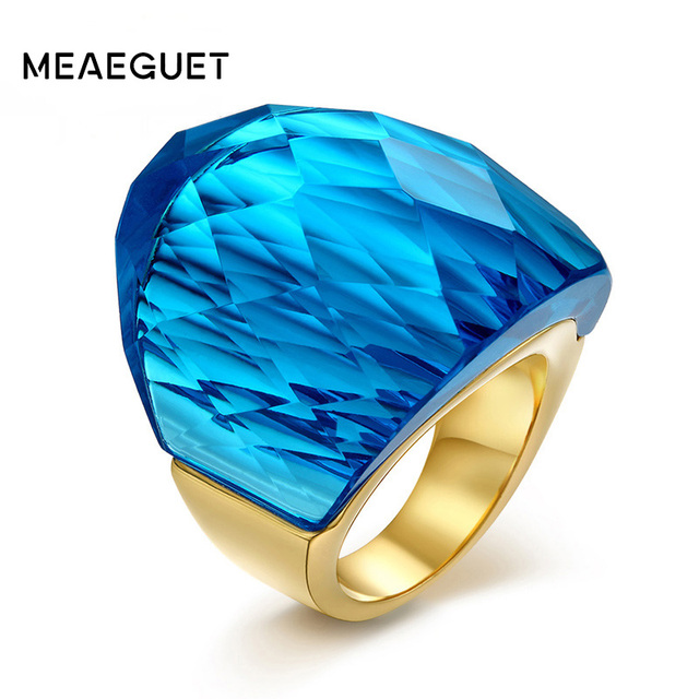 meaeguet fashion big rings for women 5 colors big glass stone wedding rings jewelry - Stone Wedding Rings
