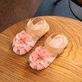 Zapatos de los niños Niñas Puntera Cubriendo Sandalias 2017 Verano Niñas Grandes de La Flor Zapatos de Los Niños Zapatos de Las Sandalias de Tamaño 21-30 Chaussure Enfant