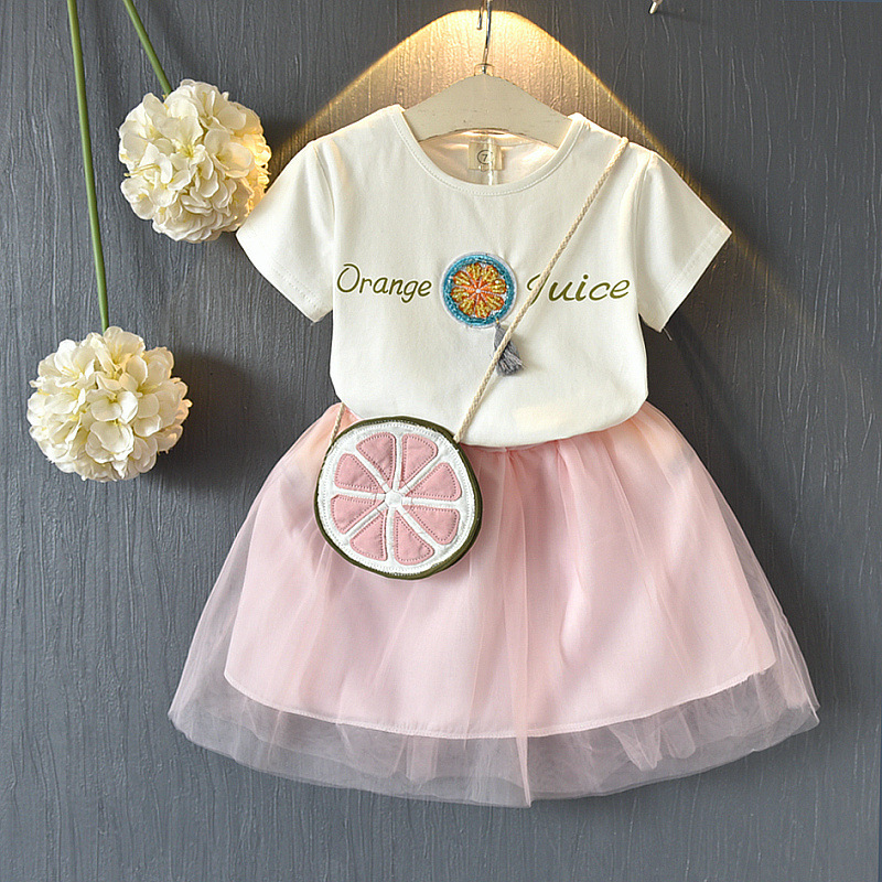 2018 New Style Toddler Girls Summer Clothing Set 2PCS Girl Cotton Letter Short T-shirt + Short Mesh Skirt Children Cloth Suit