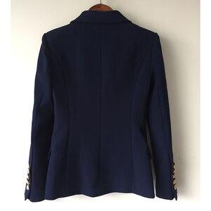 Image 3 - Yüksek kalite yeni moda 2020 tasarımcı Blazer ceket kadın Metal aslan düğmeler çift Breasted Blazer dış ceket boyutu S XXXL