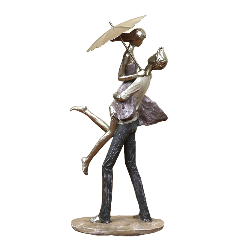 Abstract Metal Umbrella Couple Statue Resin Hug Lovers Sculpture Decor Love Novelty Valentine's Day Handcraft Ornament Present-in Statues & Sculptures from Home & Garden    1