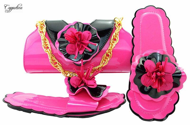 Красивая фуксия с цветочным дизайном тапочки обувь mathcing с сумочкой комплект MM1053
