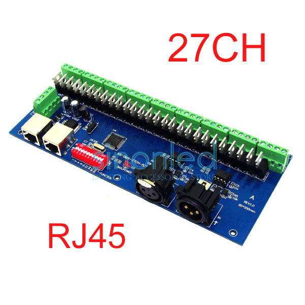 Wholesale 27CH Channel with RJ45 Easy DMX DMX512 LED Decoder,Controller,Dimmer,Drive For LEDs Strip Light Module 9 groups output 24ch easy dmx512 decoder led dimmer controller dc5v 24v 24ch dmx decoder each channel max 3a 8 groups rgb controller iron shell