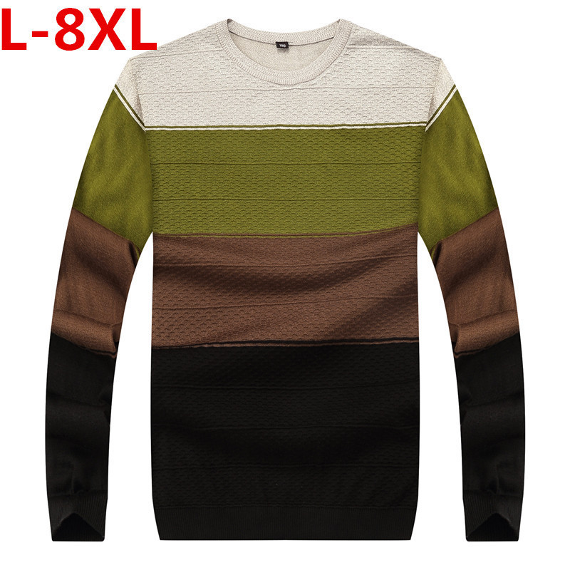 big size 8XL 7XL 6XL New Spring Autumn Brand clothing Men Sweaters Pullovers Knitting fashion Designer Casual Man Knitwear