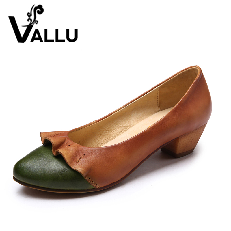 ФОТО 2017 Spring Women Shoes Genuine Leather Women Pumps Mixed Color Low Heels Comfortable Handmade Vintage Style