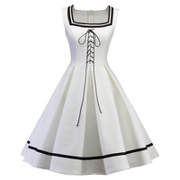 Sisjuly Vintage Dress 1950s Women Solid Dress Mid Calf Solid Lace Up Summer Dress White Lady