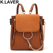 Здесь можно купить  Multifunctional Backpack Double Zipper Chain Ring Shoulder Bags For Women Vintage Nubuck Leather Bags Women Shoulder Bags Female  Backpacks