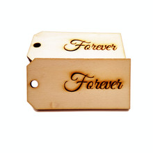 10pcs 80x40mm Forever Wood Favor Gift Bag Favor Tags Wedding Craft Decoration Card with Strings Custom
