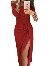 Summer Autumn Women Elegant Dresses Club Bodycon Pencil Lady Party Office Off-shoulder Slim Dress Femme Black Plus Size Split