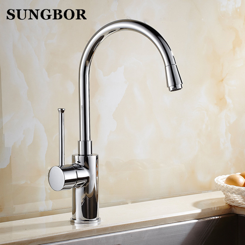Kitchen Sink Contemporary Kitchen Faucet Deck Mounted Chrome Polished Basin Faucet Hot and Cold Water Swivel Mixer Taps CF-8071L цена 2017
