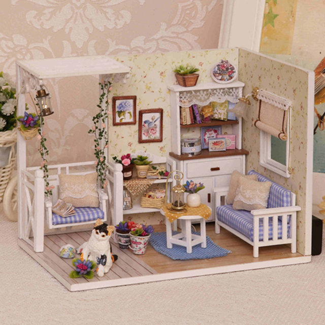 DIY Model Doll House Miniature Dollhouse With Furnitures LED 3D Wooden House  Toys For Children Gift