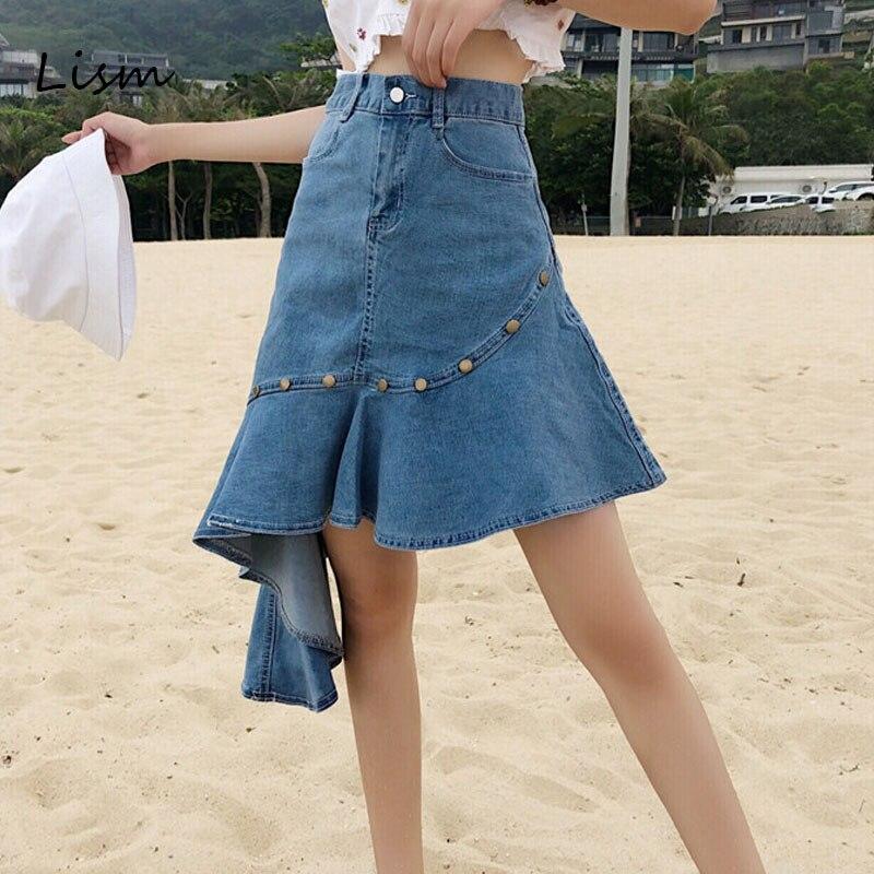 LISM Summer Denim Skirts 2019 High Waist Sexy Mermaid Korean Style Fashion Asymmetrical Denim Skirts Ruffle Pockets Saia Jeans