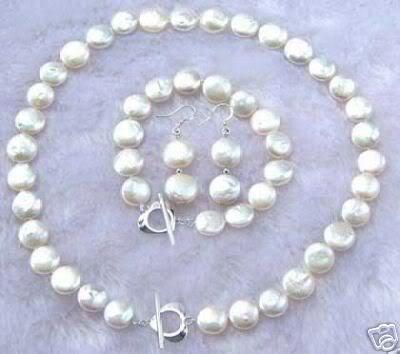 b14204542076 Al por mayor 11-12mm blanco Akoya collar de perlas pulsera pendiente  conjunto