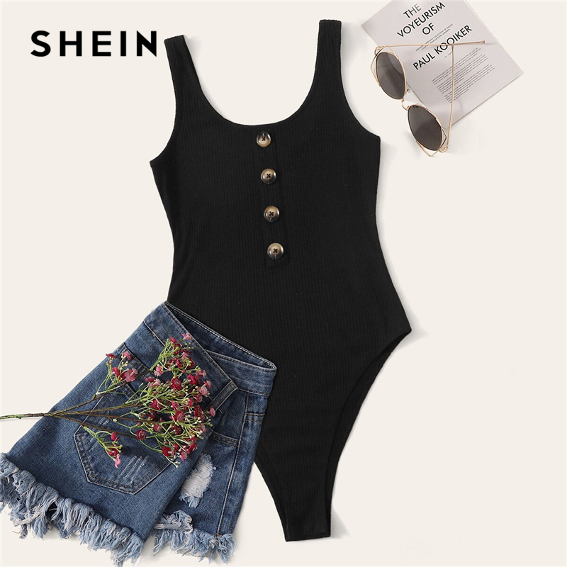 SHEIN Black Solid Ribbed Knit Button Front Casual Tank Bodysuit Women 2019 Summer Sleeveless Mid Waist Skinny Laies Bodysuits