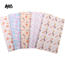 AHB Colorful Feather Faux Leather Leaves Printed Synthetic Leather Sheets For Bows Vinyl DIY Hairbows Handmade Crafts Materials цена и фото