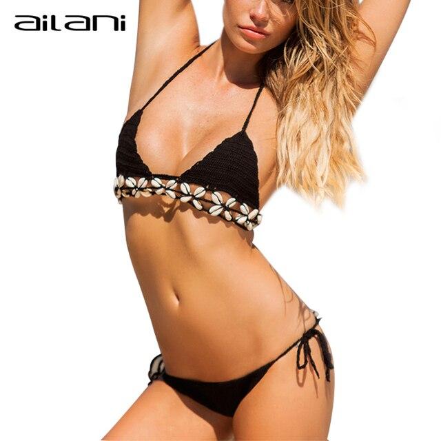 Estremamente Donne Super Sexy Micro Bikini All'uncinetto Con Guscio Bianco Nero  PJ13