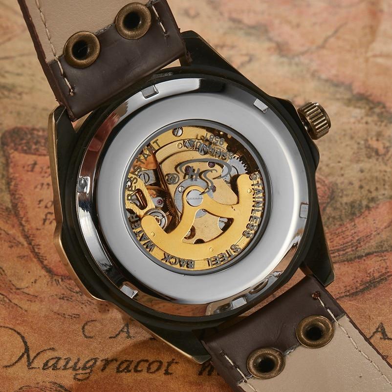Retro Relojes Mecánicos Hombres Antiguo Bronce Esqueleto Steampunk - Relojes para hombres - foto 6