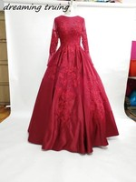 Vestido Longo Custom Made Burgundy Satin Prom Dresses With Long Sleeves Appliques Arabic Moroccan Women Evening Party Gowns 2018
