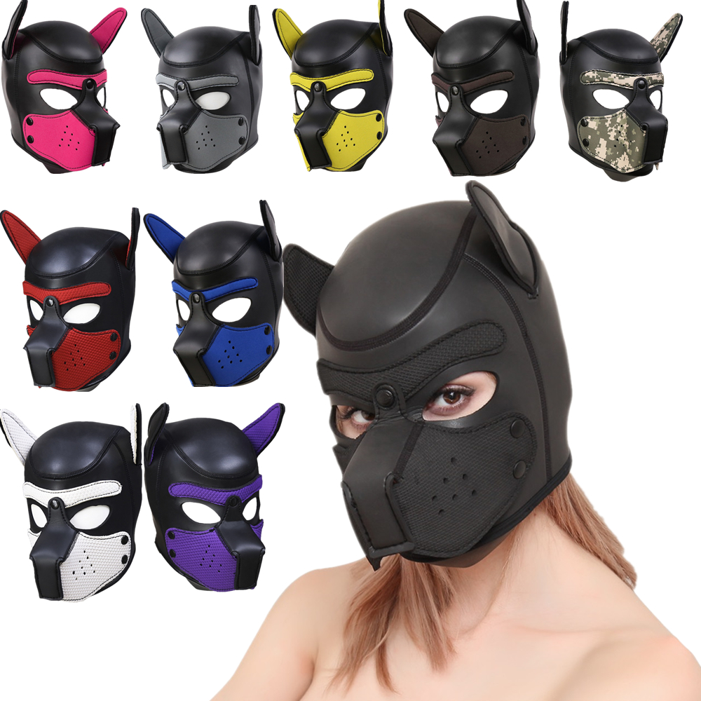 Sexy Cosplay Role Play Dog Full Head Mask Soft Padded Rubber Puppy & Ears