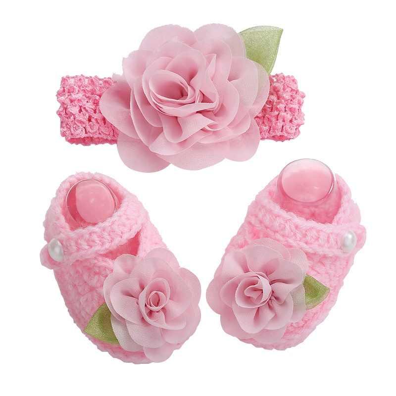2016 новорожденных реквизит для фотосессии Zapatillas Bebe Обувь для девочек крючком Обувь для младенцев цветок оголовье, набор, Обувь для младенцев Обувь для девочек зимние, для маленьких девочек Обувь