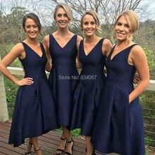 Dark Navy Blue Satin Concise Bridesmaid Dresses 2017 vestido madrinha V neck Pleats Tea Length Maid of Honor Dresses for Wedding