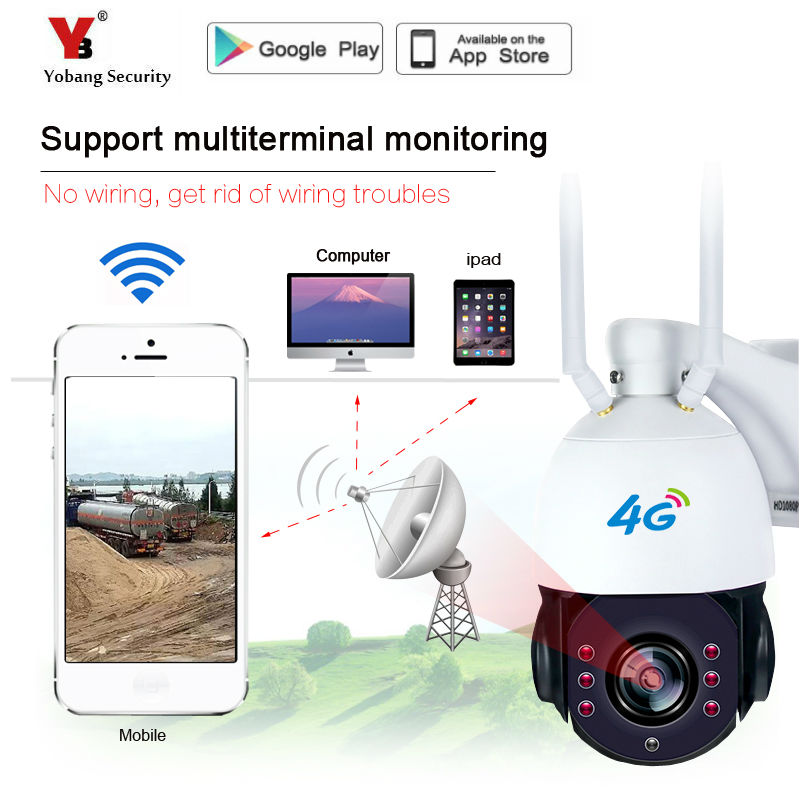 Yobang Security Wireless 4G GSM Outdoor Waterproof Security CCTV Dome IP Camera Onvif P2P Night Vision Supports up to 128GB TF advanced 128gb cctv camera 50 meters night vision waterproof housing