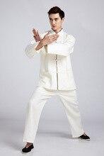 Традиционный бежевый китайский Для мужчин кунг-фу форма льняной костюм с длинным рукавом Костюмы Размеры м до XXXL 2516