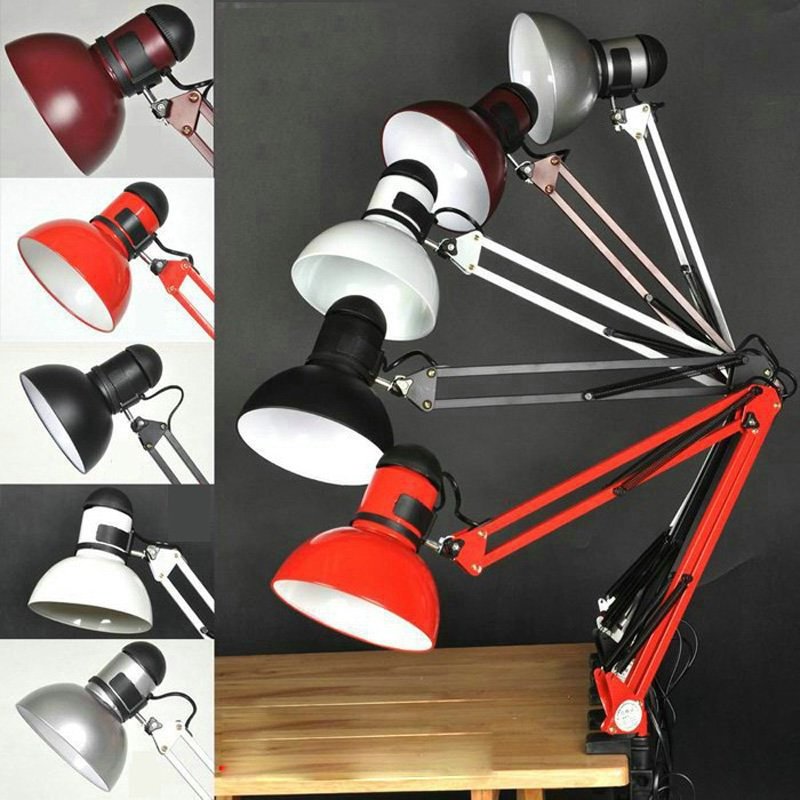 Free Shipping 100% Good Quality Assurance Iron American Table Lamp Foldable Long Arm Book Reading Lights E27 Clip Desk Lamp