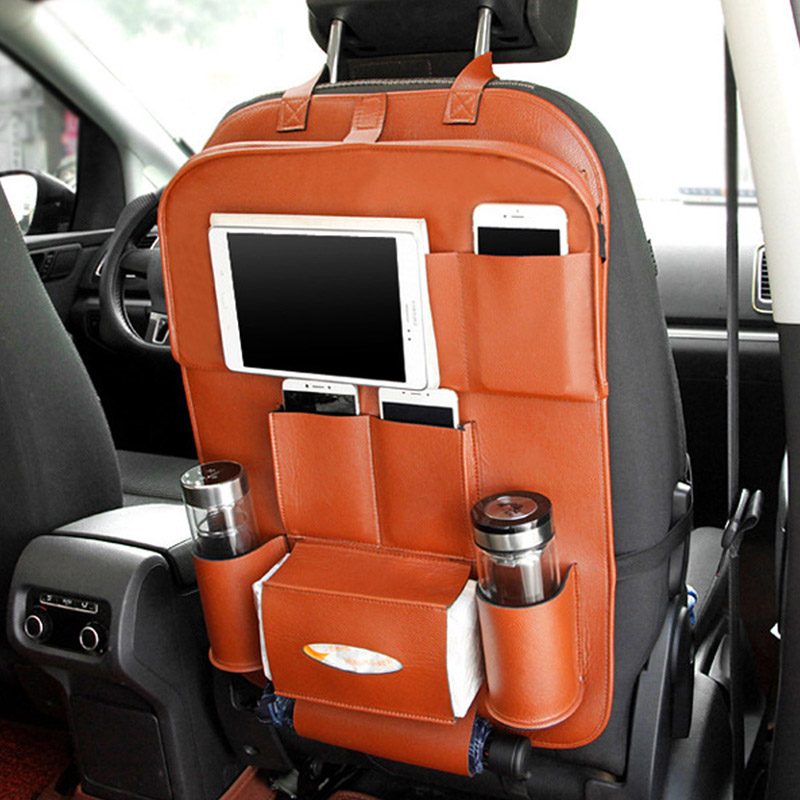 Automobiles & Motorcycles Cooperative Pu Leather Seat Back Bag Folding Table Organizer Drink Chair Storage Pocket Box Travel Stowing Tidying Automobile Accessories Modern And Elegant In Fashion Stowing Tidying