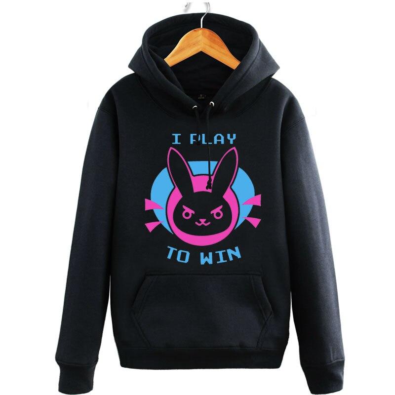 IGameracg Women Black D.va Hoodies Hana Song Pullover Long Sleeve Casual Sweatershirts I Play To Win Hoodies