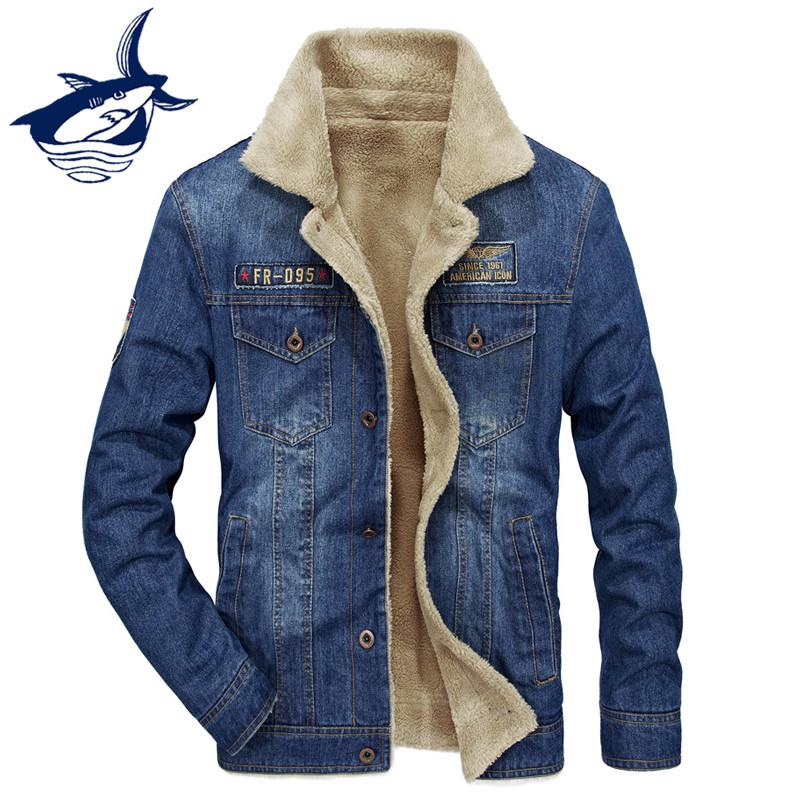 цена New Arrival Men's Winter Jacket Brand Tace & Shark Denim Jacket Fashion Retro Thicken Warm Fleece Denim Jacket Jeans Coat Men