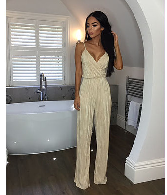 Dusty Pink Satin Slip Jumpsuit Sexy Cross Low Back Women Summer Jumpsuits 2017 New Ruffle Strap Casual Elegant Jumpsuit