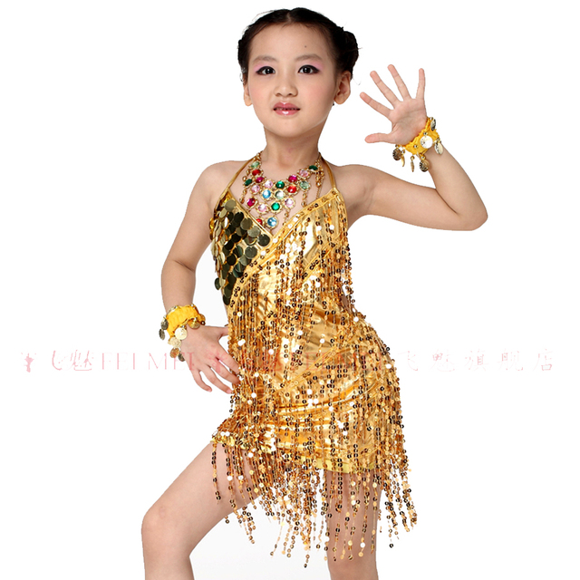 Latin Dance Dress For Girls Gold Silver Kaka Dance Dress 3 Pcs (Dress+2  Sleeve) Sequins Tassel Cha Cha Competition Dresses a4d1e108af04