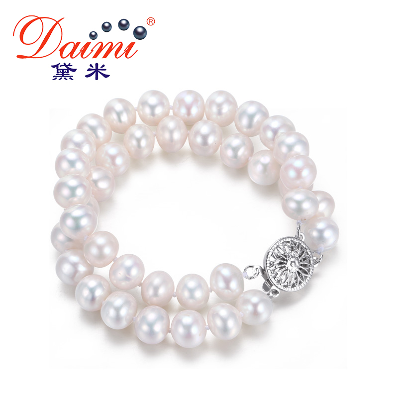 DAIMI Two Strand Pearl Bracelets 7 8 mm 100 Natural Freshwater Pearl New Style Double Bracelet