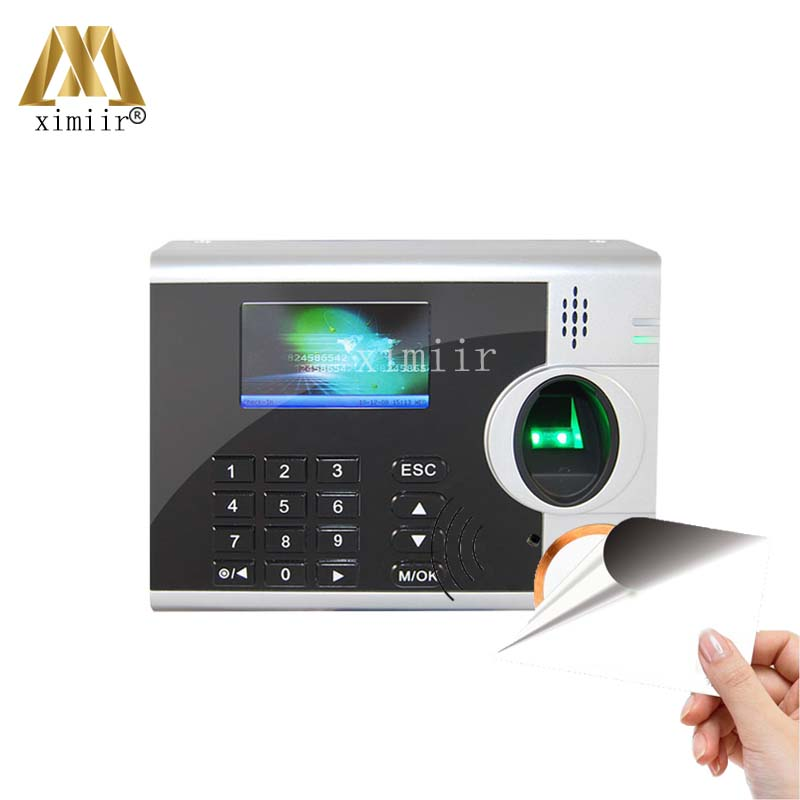 Biometric Fingerprint Time Attendance With 13.56MHZ MF Card Reader TCP/IP Fingerprint Recognition Time Clock With Free Software free shipping a c011 tcp ip biometric time recorder with software and sdk usb download fingerprint time clock