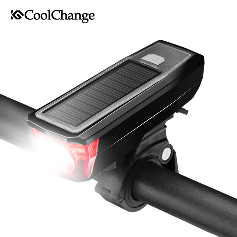 CoolChange Solar Bike Light Waterproof USB Rechargable Torch Cycling Horn Light Headlight Night Riding Safety Bicycle Light Bell