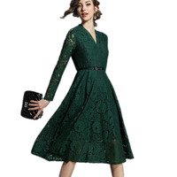 2018 Women Lace Dress For Spring Autumn Green Color V Neck Bodycon Dress A Line Hollow