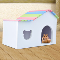 Colorful 2size Wooden Hamster House small pets cage for squirrel Guinea pig Chinchilla ferret rabbit house accessories