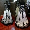 Preto e Branco Vestidos de Casamento Gótico do vintage Real Fotos Lace Apliques Plus Size Vitoriano Vestido de Noiva robe de mariage