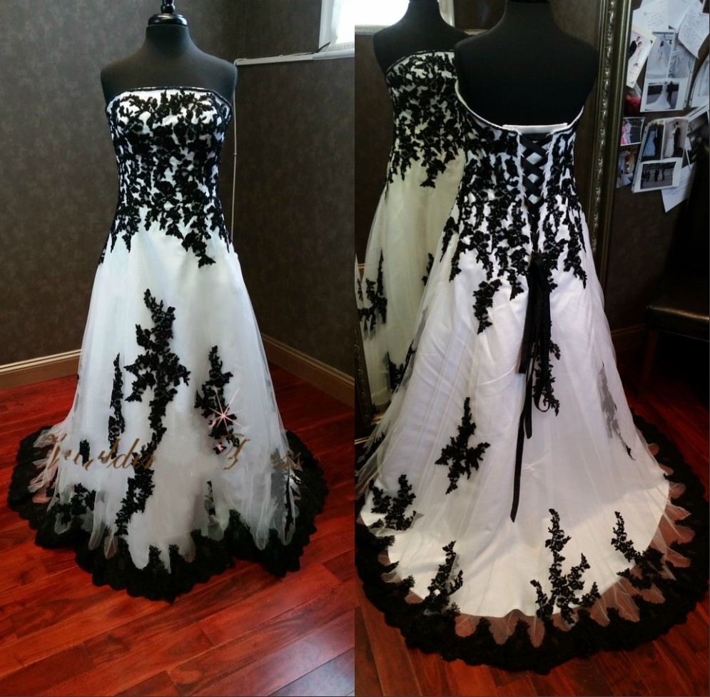 36caa1f3fbe Vintage Black and White Gothic Wedding Dresses Real Photos Lace Appliques Plus  Size Victorian Bridal Dress robe de mariage