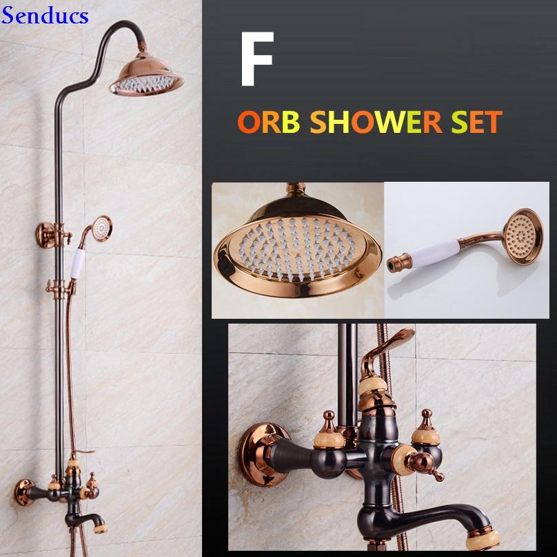 Senducs Orb Bathroom Shower Set Rain Fall Bathroom Shower Head With Brass Orb Shower Faucet Of Luxury Bathroom Shower System