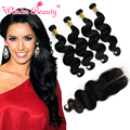 Onda do corpo não transformados virgin cabelo peruano bundles com lace closure 4 pacotes com encerramento barato cabelo humano tecer com fecho