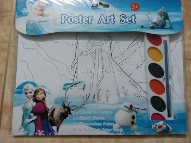 Free Shipping Frozen Poster Art Set Childrens Educational Coloring Book W H Paint Brush Kids