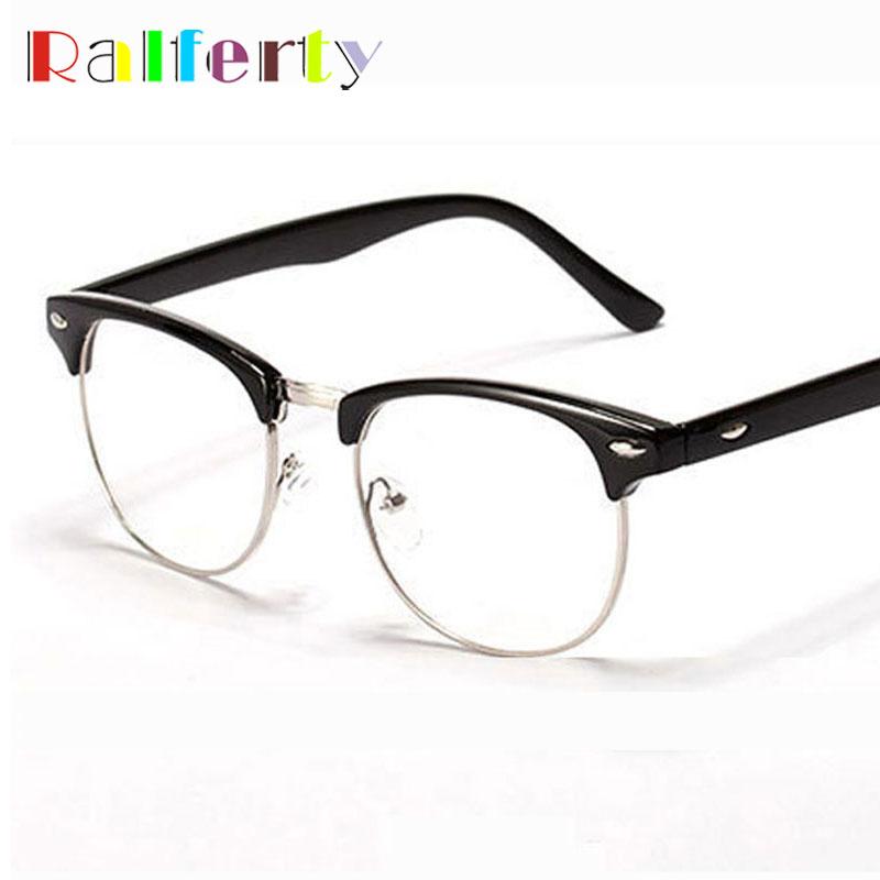 Ralferty Retro Vintage Semi-Quadro Sem Aro Óculos Homens Mulher Óculos  Óptica Quadros Miopia Prescrição Óculos Claros 005 03984345e3