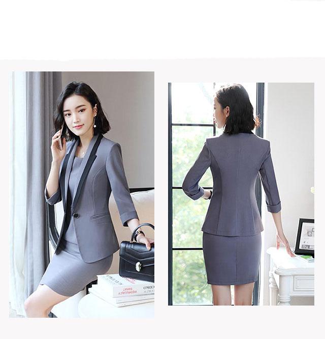 Hot Ladies Dress Suit for Work Full Sleeve Blazer Sleeveless Dress 2 Pieces Set 23
