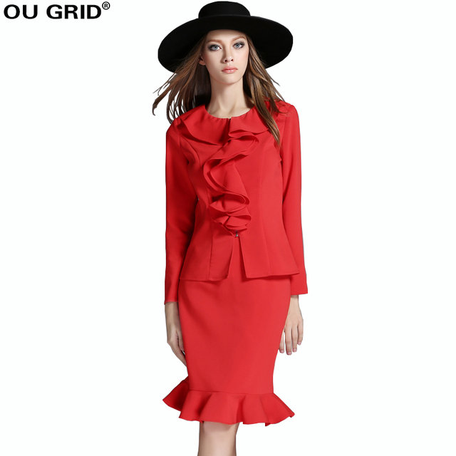 32aaefd5bfa Spring Dress Women Suits with Skirts Runway Style blouse+Ruffles Hem Skirt  Set Red Plus