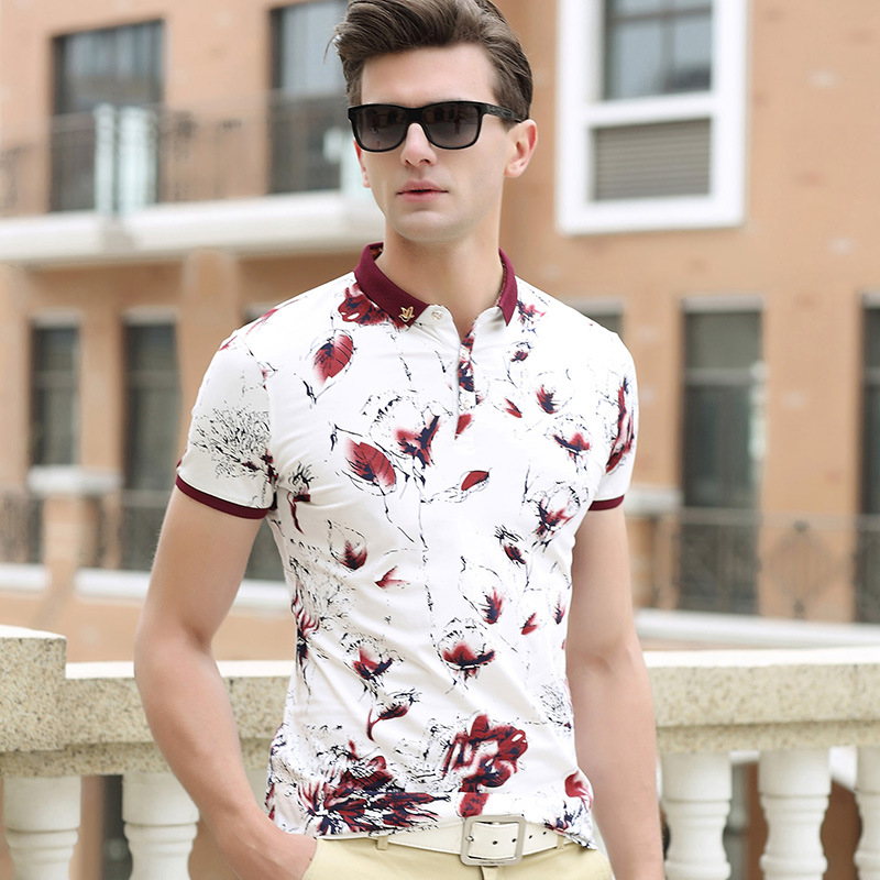 Men Summer Short Sleeve Flower Polo Shirt Plus Size Cotton Fashion Printing Working Cloth For Man