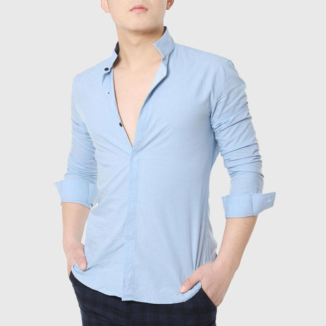 e3755954 Men Formal Dress Shirts Mandarin Collar Skinny Shirt Long Sleeve Business  Plain Cotton Social Designer White
